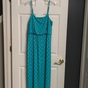 Women's Faded Glory Turquoise Print Maxi Dress